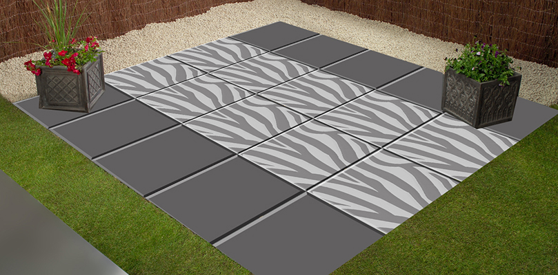 Animal print paving slab concept patio